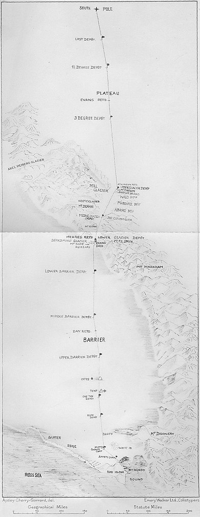 Route taken to the South Pole showing supply stops and significant events. Scott was found frozen to death with Wilson and Bowers, south of the One Ton Supply depot Terra Nova Expedition route.jpg