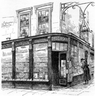 "Great Turnstile - The Tregaskis book shop, ""The Caxton Head"", on the corner of the New Turnstile and High Holborn"