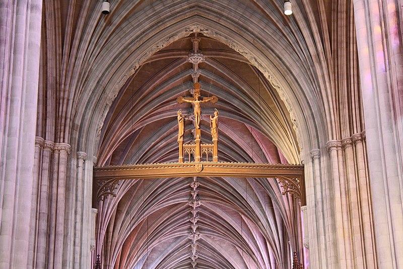 Washington National Cathedral crucifix above main altar.JPG