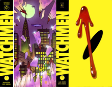 "Watchmen TPB covers. Art by Dave Gibbons.Alan Moore's Watchmen is widely considered a pivotal ""Modern Age"" title, and it's iconic blood spatter (right) is particularly indicative of the so-called ""Dark Age""."