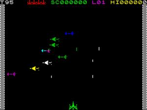 Arcadia (video game) - ZX Spectrum screenshot of level 1