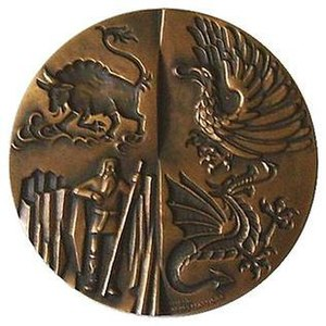Icelandic heraldry - Reverse of 1974 bronze medal showing the four guardian spirits of Iceland (also the four supporters of Iceland's coat of arms)