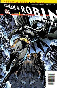 Batman with his sidekick Robin on the cover to All Star Batman and Robin #1 (July 2005). Pencils by Jim Lee.