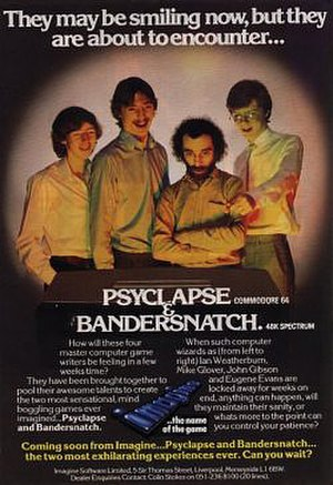 "Imagine Software - Promotion for the then under-development (and never-released) Bandersnatch, one of the planned ""Megagames"" (from left to right: Ian Weatherburn, Mike Glover, John Gibson, Eugene Evans)."