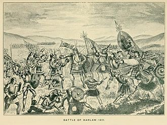 "Clan Donald - The Battle of Harlaw as depicted in The Clan Donald volume 1 (1896), by A and A MacDonald, who claim that Donald of Islay and his army of Scottish Highlanders won a victory over the Duke of Albany and his army of Scottish Lowlanders, which resulted in the ""total annihilation"" of the Lowland army. However, most historians concur that the battle was indecisive with no clear victor and the Oxford Companion to Scottish History (2011) states that Donald of Islay was ""defeated at great cost at Harlaw""."