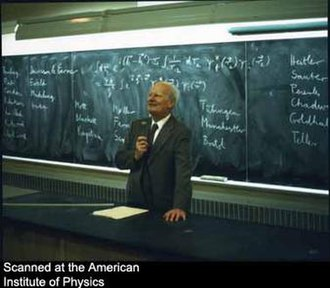 Hans Bethe - Hans Bethe lecturing at Dalhousie University, 1978.
