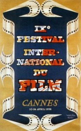 1956 Cannes Film Festival - Official poster of the 9th Cannes Film Festival, an original illustration by Marcel Huet.