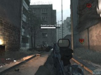 Call of Duty 4: Modern Warfare - A player completes the objective of a Domination multiplayer game by capturing and defending 3 flags.