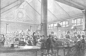 Women in telegraphy -  The Central Telegraph Office, London, 1874. Source: Illustrated London News, December 12, 1874.