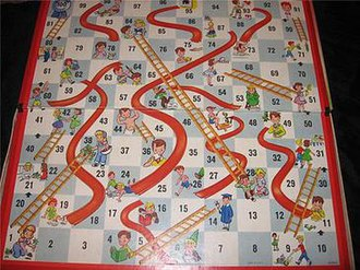 Snakes and Ladders - Milton Bradley Chutes and Ladders gameboard c. 1952. The illustrations show good deeds and their rewards; bad deeds and their consequences.