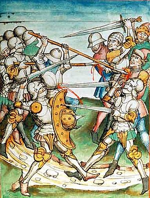 Plate armour - 15th-century depiction of a melee. A breast plate is pierced by a sword