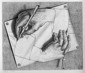 "Image from Wikipedia - ""Drawing Hands"" is a lithograph by the Dutch artist M. C. Escher first printed in January 1948. It depicts a sheet of paper out of which, from wrists that remain flat on the page, two hands rise, facing each other and in the paradoxical act of drawing one another into existence."
