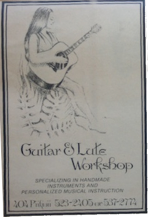 Guitar and Lute Workshop - A very early advertisement for the GLW and its then new retail storefront at 404 Piikoi St, circa 1972.  The ad emphasizes both key aspects of the GLW operation: custom instrument manufacturing and musical instruction.