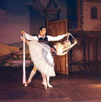La fille mal gardée - Nadia Nerina (as Lise) and David Blair (as Colas) in the Pas de ruban from the premiere of Frederick Ashton's version of La Fille mal gardée, London, 1960.