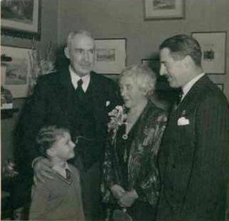 George Cummins Morphett - Mr. and Mrs. G. C. Morphett, their son, Hurtle Cummins Morphett and grandson John Cummins Morphett, on the occasion of their golden wedding anniversary, 12 June 1951