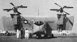 Hiller X-18 - The X-18 showing its elaborate engine configuration