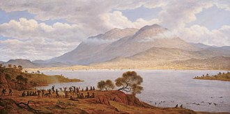 History of Hobart - An oil by John Glover (1834) depicts the Tasmanian Aborigines dancing on the eastern shore of the Derwent River, with Hobart Town visible in the background.
