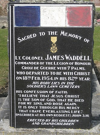 James Waddell (army officer) - Image: James Waddell Lo H Headstone