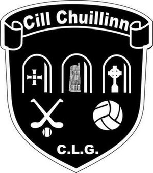 Old Kilcullen - Kilcullen GAA crest depicts the round tower and high cross at its centre.