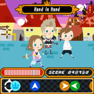 Kingdom Hearts Mobile - An avatar playing the mini-game Rhythm Parade.