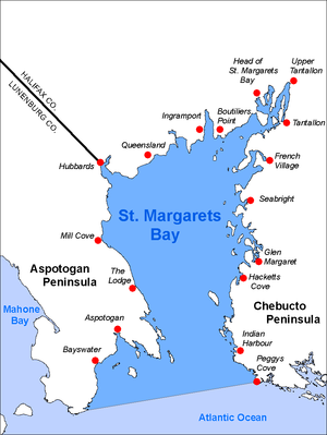 St. Margarets Bay, Nova Scotia - Map  of St. Margarets Bay