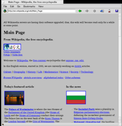 NetPositive 2.2 under BeOS R5 showing Wikipedia (no CSS support)