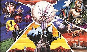 Ninja Gaiden - An illustration depicting Ryu Hayabusa at the center, with images of events from the NES trilogy shown at the background