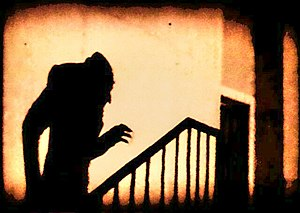Horror film - A famous scene from the 1922 German horror film Nosferatu