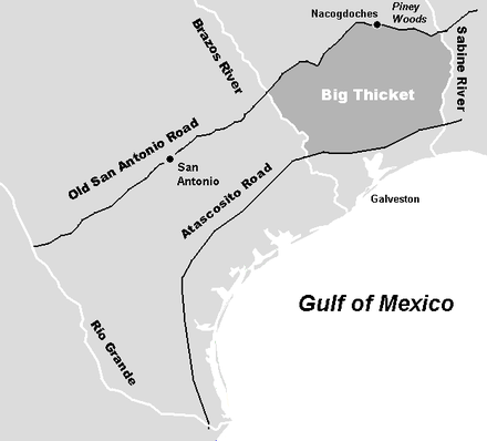Traditional limits of the Big Thicket region prior to the Texas Revolution. Deforestation has dramatically reduced its size. Old Big Thicket.png