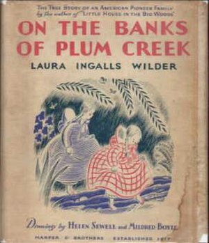 On the Banks of Plum Creek - Front dust jacket with Sewell's illustration