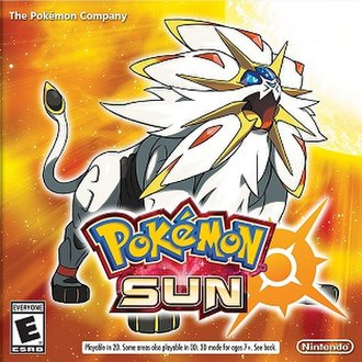 Pokémon Sun and Moon - North American packaging artwork for Pokémon Sun, depicting the Legendary Pokémon Solgaleo