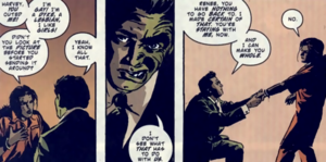 Renee Montoya - Montoya and Two-Face. Art by Michael Lark.