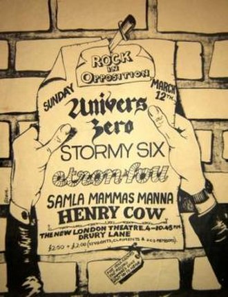 "Henry Cow - Flyer for the 1st RIO festival, 12 March 1978, The New London Theatre, London. The ticket below the flyer reads: ""FIVE ROCK GROUPS THE RECORD COMPANIES DON'T WANT YOU TO HEAR."""
