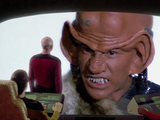 The Last Outpost (Star Trek: The Next Generation) - The design of the Ferengi was created by Andrew Probert, with modifications by Michael Westmore and Mike Okuda.
