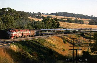 Rail transport in Victoria - The Spirit of Progress led by GM class locomotives in the 1970s