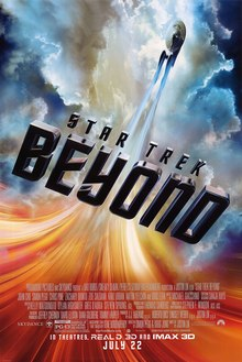 "The USS Enterprise flying through the universe, with the film's title ""Beyond"", and the film's billing below."