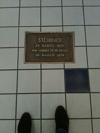 Time capsule - The Steinbach time capsule at the Shore Mall in southern New Jersey, installed in 1974.