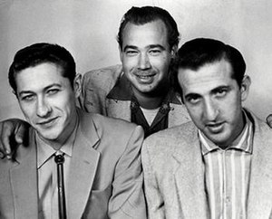 The Blue Moon Boys - Left to right: Scotty Moore (guitar), Bill Black (bass), D.J. Fontana (drums)