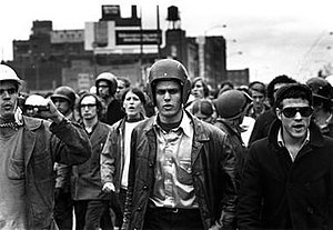 John Jacobs (activist) - John Jacobs (center, football helmet) and Terry Robbins (with sunglasses) at the Days of Rage in Chicago in October 1969.