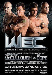A poster or logo for WEC 25: McCullough vs. Cope.
