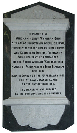 Windham Wyndham-Quin, 5th Earl of Dunraven and Mount-Earl - Memorial plaque