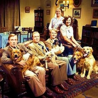 All Creatures Great and Small (TV series) - Cast of All Creatures Great and Small, circa 1978: Christopher Timothy, Robert Hardy, Peter Davison, Mary Hignett and Carol Drinkwater
