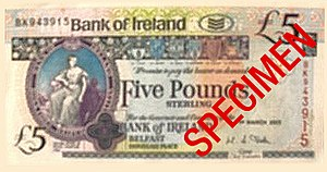 Bank of Ireland - A £5 sterling note issued by Bank of Ireland in Northern Ireland