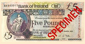 Banknotes of the pound sterling - A Bank of Ireland £5 note