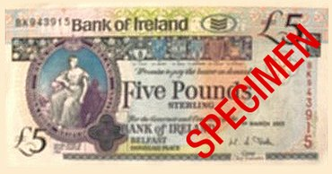 A 5 Sterling Note Issued By Bank Of Ireland In Northern