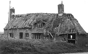 Weald and Downland Living Museum - The derelict house in 1971. The portion saved is on the right of the picture.