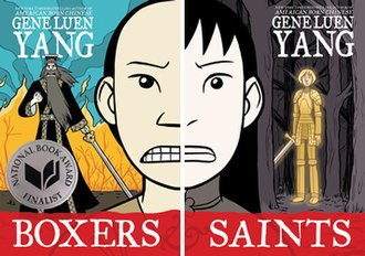 Boxers and Saints - The cover of Boxers (left) and the cover of Saints (right), respectively.