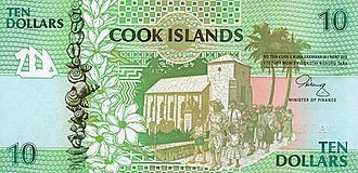 Cook Islands dollar - Image: Cook Islands P8 10Dollars (1992) f