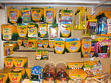 A variety of Crayola products available for sale at a New York art supply store