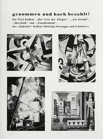 "En Canot - Entartete Kunst, Group 9, Degenerate Art Exhibition catalogue, 1937, p. 23. Works from top left to lower right: Johannes Molzahn, Der Gott der Flieger, 1921, oil on canvas. Jean Metzinger, En Canot (""On the Beach""), 1913. Kurt Schwitters, Merzbild, 1918–19, mixed media, 100 x 70 cm. Johannes Molzahn, Familienbild"